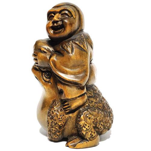 "Y7165 -  2"" Stunning Hand Carved Boxwood Netsuke  - Boy on Big Frog"