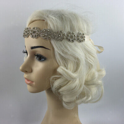 VINTAGE 1920s FLAPPER CRYSTAL HEADBAND GREAT GATSBY WEDDING HAIR ACCESSORIES - Great Gatsby Accessories