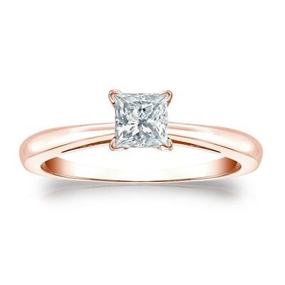 0.50 Cts F/VS1 Princess Cut GIA Certified Natural Diamond Ring In 18K Rose Gold