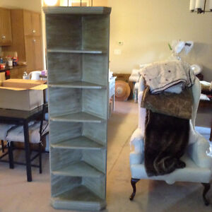 Antique Display Corner Shelves painted with an antiqued finish