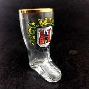 Offenburg Germany Mini Boot Shaped Shot Glass Coat Of Arms