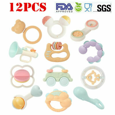 Baby Newborn Rattles Teether Toys Infant Shaking Bell Rattle Set BPA Free Toys ()