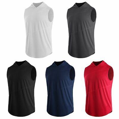 Men's Fitness Hoodie Sports Tee Tops Sleeveless Hooded T-Shirt Sweatshirt Blouse Sleeveless T-shirt Sweatshirt