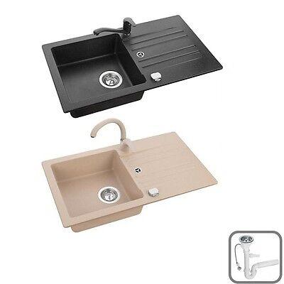 Spüle Spülbecken SKIP20 Granit Küche 75x42 Schwarz Beige Armatur SWAN oder LOW - Swan Küche