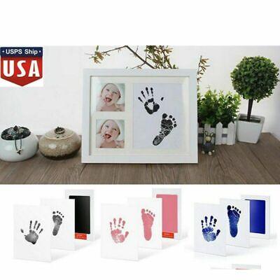 Newborn Baby Handprint Footprint Imprint Clean Touch Ink Pad Photo Frame Kit US