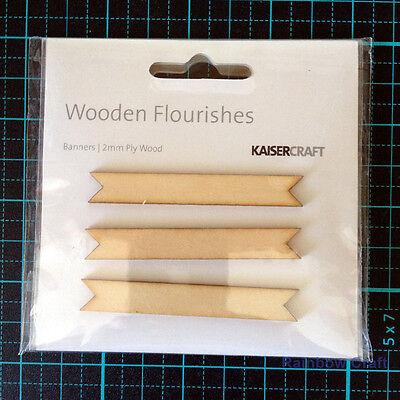 Kaisercraft Wooden Embellishments flourish Pack 18 wording / patterns U select - Banners