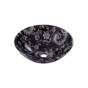 Aquabrass 97053 Round Floral Wallpaper Glass Basin