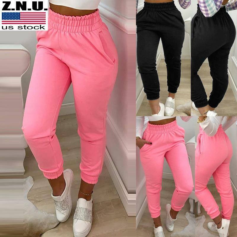 Womens Elastic Waist Casual Pocket Trousers Ladies Gym Joggers Lounge Wear Pants