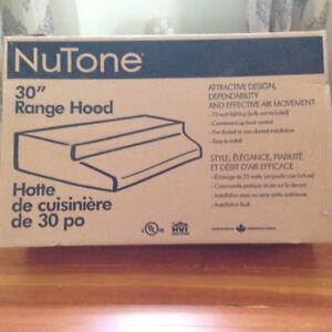 "NuTone 30"" Stainless Range Hood -new in box"