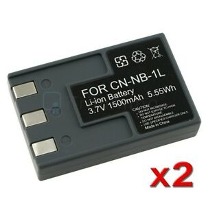 2 PACK for CANON NB-1LH NB-1L Battery CANNON S410 S500