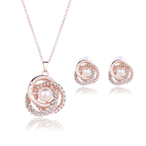 Women Charm Jewelry Set Crystal Rose Gold Plated Pearl Penda