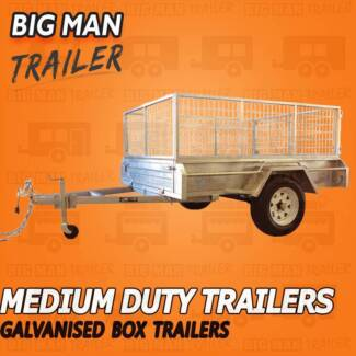 7X4 Galvanized Single Axle Fully weld Trailers With Cage