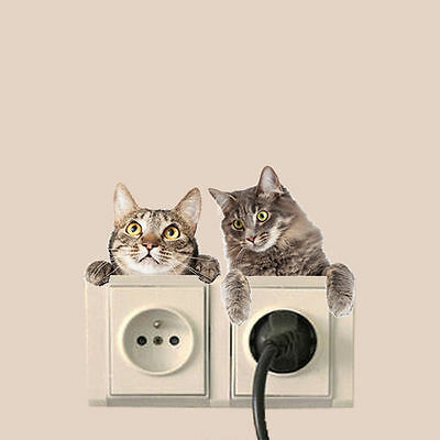 Creative Cat Dog Switch Panel Decal Removable Wall Stickers Bedroom Dcora YA9