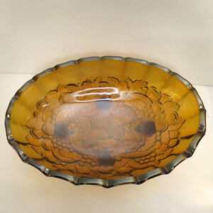 Vintage Bowl Amber Heavy Glass Indiana Glass Harvest Grapes Kitchener / Waterloo Kitchener Area image 2