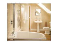 4 boxes of 330mm cream ceramic floor/wall tiles