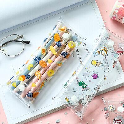 Cute Transparent PVC Pineapple Fruit Cat Pattern Pencil Case Makeup Storage Bag ](Cat Makeup)