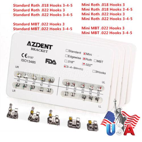 Azdent Dental Orthodontic Bracket Braces Standard & Mini Roth & Mbt Hooks 3-4-5