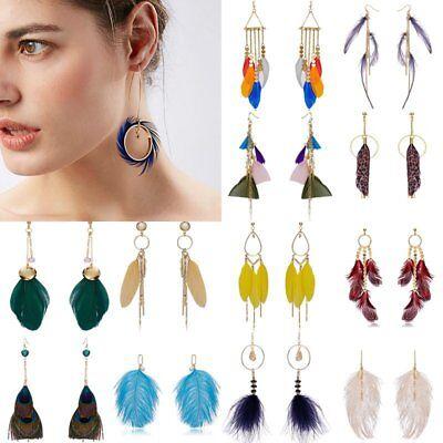 Boho Multi Design Feather Tassel Fashion Women Dangle Hook Earrings Long Jewelry