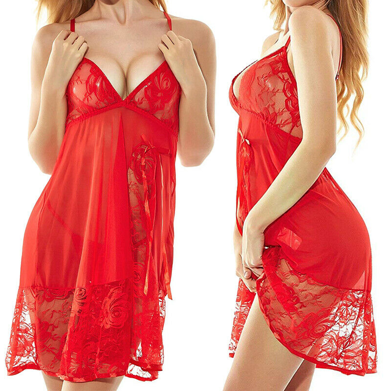 Plus Size Sexy Lingerie for Women Sleepwear Lace Babydoll Chemise Honeymoon Set Clothing, Shoes & Accessories