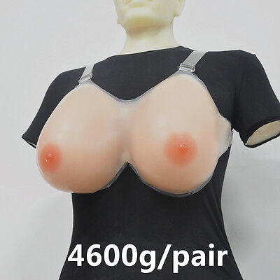 4600g/pair Large Silicone Breast Form Straps J Cup Huge Fake Boobs Best