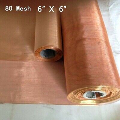 80 Mesh Copper Woven Wire Cloth Fabric Screen Filter Sheet .0078 200 Microns