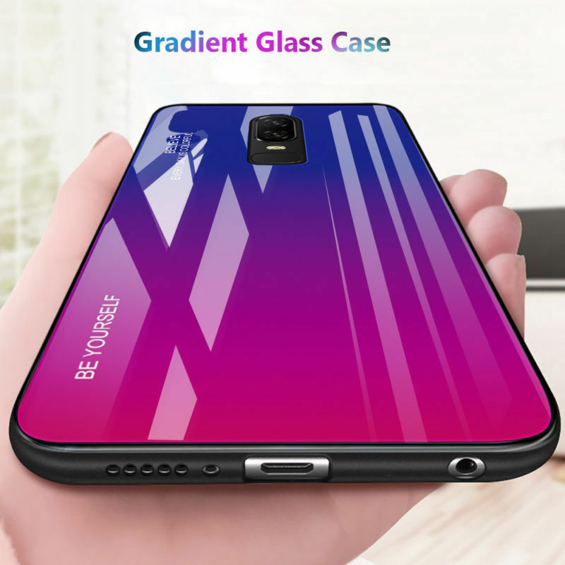 lowest price 2f40b 196ca Details about Gradient Tempered Glass Shockproof Hybrid Hard Back Case  Cover For Oneplus 6T 6