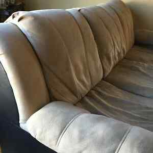 Light Beige Suede and Leather Couch