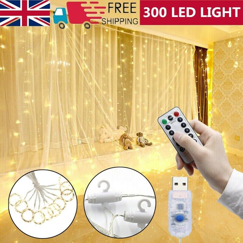 300+LED+Curtain+Fairy+Lights+String+Indoor+Outdoor+Backdrop+Wedding+Xmas+Party