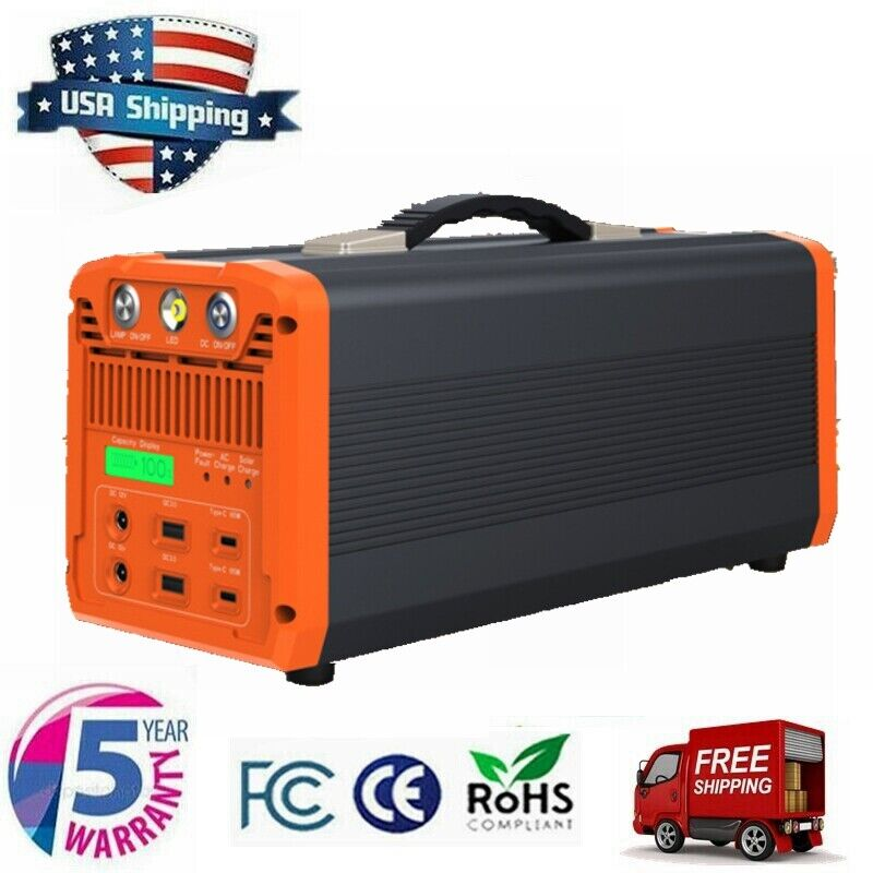 1000W Portable Power Station Solar Generator Rechargeable Lithium Battery Backup
