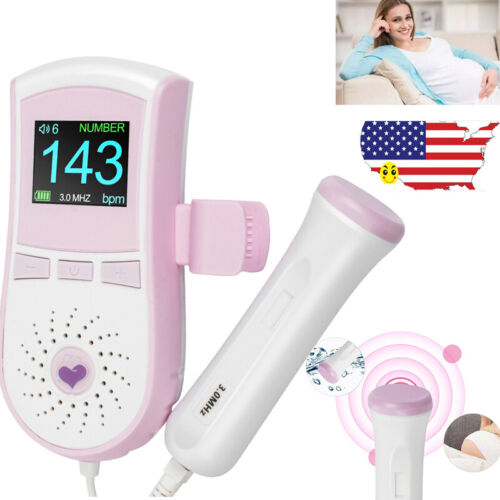 PortableColor  LCD Display Pocket Fetal Doppler Prenatal Baby Heart Monitor 3MHz