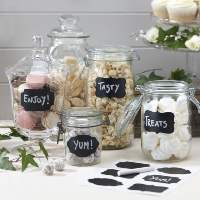 VINTAGE WEDDING SWEET JAR LABELS, 12 CHALKBOARD STICKERS & CHALK FOR CANDY JARS
