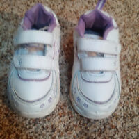 purple and white running shoes-size 7