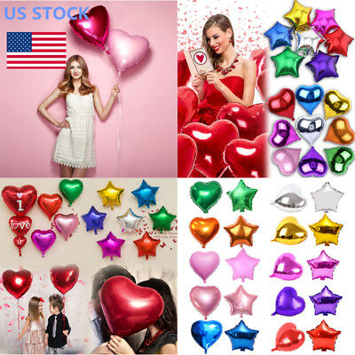 Star Balloons (10'' 18'' 32'' Star Heart Shape Foil Balloon Party Wedding Decor Birthday)
