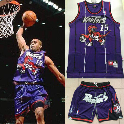 Carter Uniform (Basketballuniform Retro-violetten Raptors Vince Carter #15 Trikot Shorts Jersey)