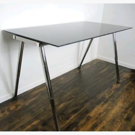 "IKEA GALANT Black Glass Desk"""