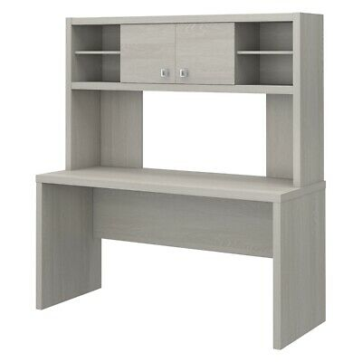 Office by kathy ireland Echo 60W Credenza Desk with Hutch in Gray Sand