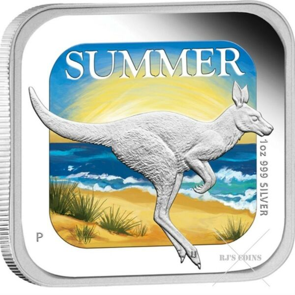 "AUSTRALIAN SEASONS - 2013 FOUR ""1oz"" SILVER PROOF SQUARE COINS ISSUED BY THE PERTH MINT"