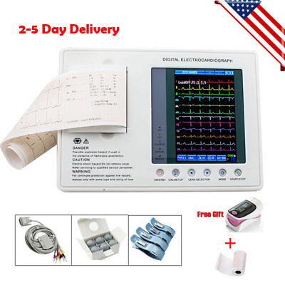 7-inch 12lead 3channel Electrocardiograph Ecgekg Machine W Interpretation Fda