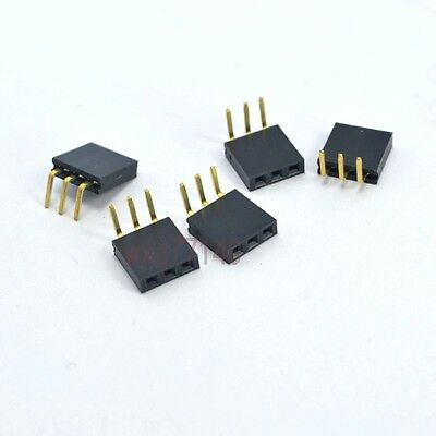20pcs 2.54mm Pitch 3 Pin Header Right Angle Female Single Row Socket Connector