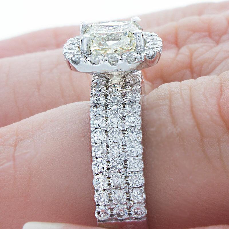 GIA Certified Diamond Engagement Ring 14k White Gold 2.12 CTW Natural Cushion  3
