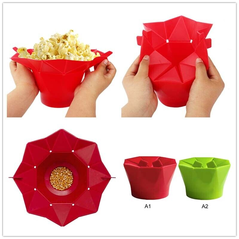 Silicone Microwave Popcorn Maker Collapsible Bowl Bucket Bak