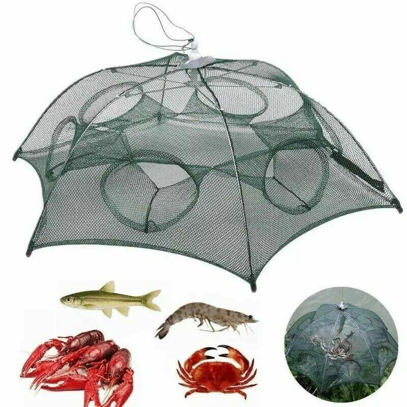 Fishing Bait Trap Crab Net Crawdad Shrimp Cast Dip Cage Fish Minnow Foldable NEW Fishing