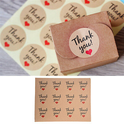 120pcs Thank Youred Heart Kraft Sticker Label Craft Packaging Seals Paper New