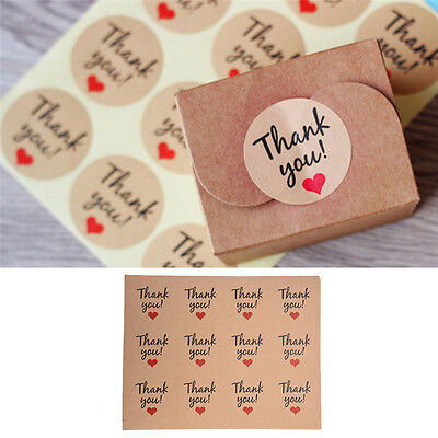 120pcs Thank Youred Heart Kraft Sticker Label Craft Packaging Seals Paper New