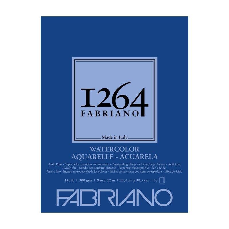 Fabriano 1264 Watercolor 140lb (30-Sheet) Cold Press Glue Bound Pad 9x12