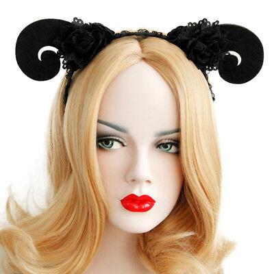Headband Goth Halloween Animal Sheep Ram Horn Lace Costume Ball Cosplay - Ram Horn Costume