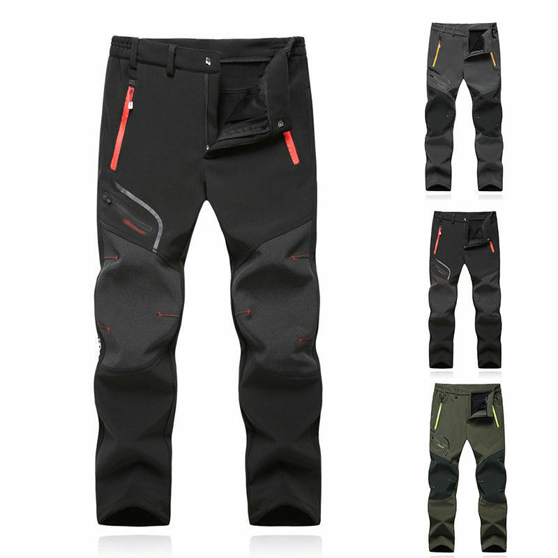 SoftShell Men'S Outdoor Trousers Thick Sugan Velvet Hiking Spots Waterproof Pant
