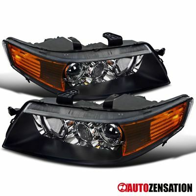 For 2004-2005 Acura TSX Black Lens Projector Headlights Lamps Pair+Amber