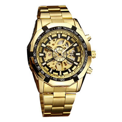 Luxury Golden Skeleton Watch Men Automatic Mechanical Gold Steel Male Wristwatch
