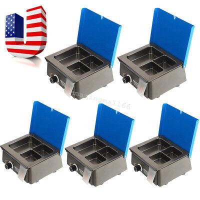 5x Dentist Dental 3 Well Analog Wax Melting Dipping Pot Heater Melter Equipment
